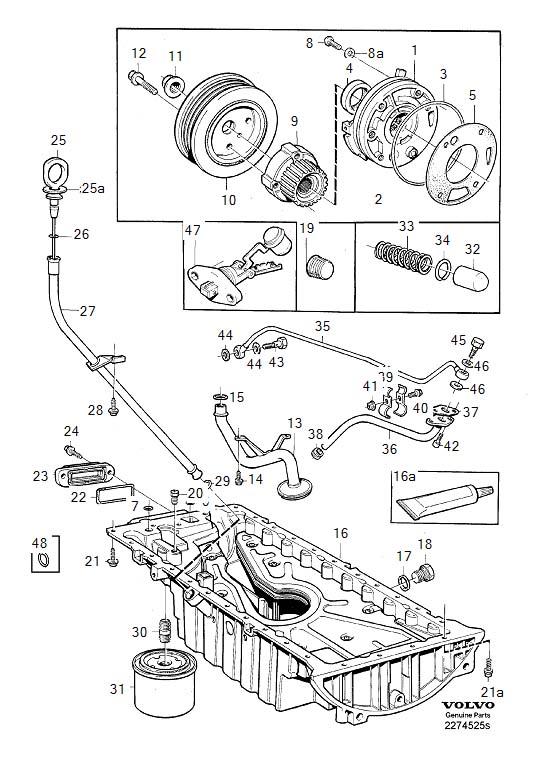 1994 Volvo Six point socket screw. TURBO, Lubricating ...